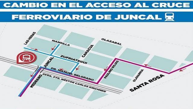 Nuevo acceso al cruce ferroviario de Juncal