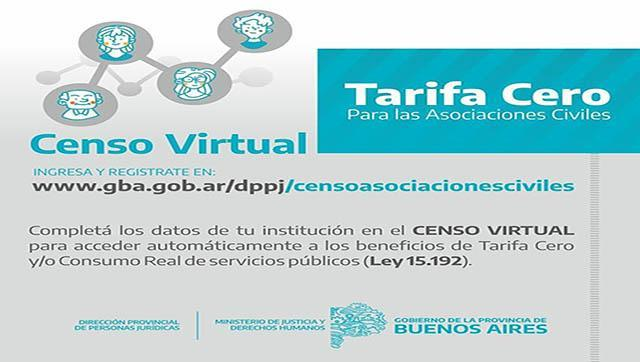 Censo virtual de Asociaciones Civiles para acceder a Tarifa Cero